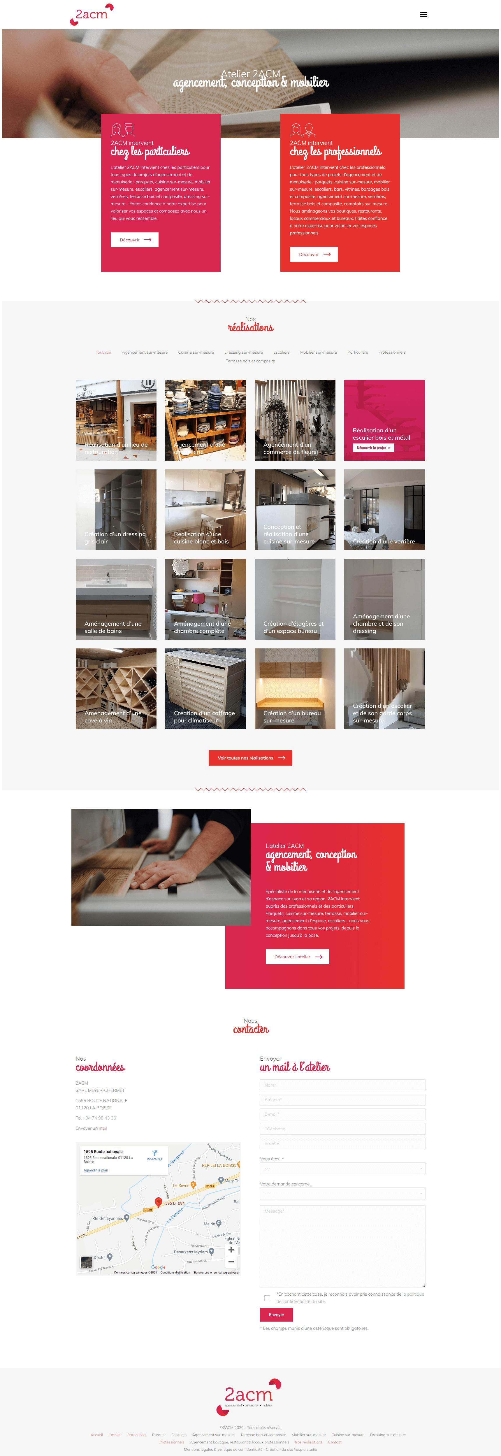 2ACM Menuiserie agencement conception mobilier - Création logotype, site web, cartes de visite