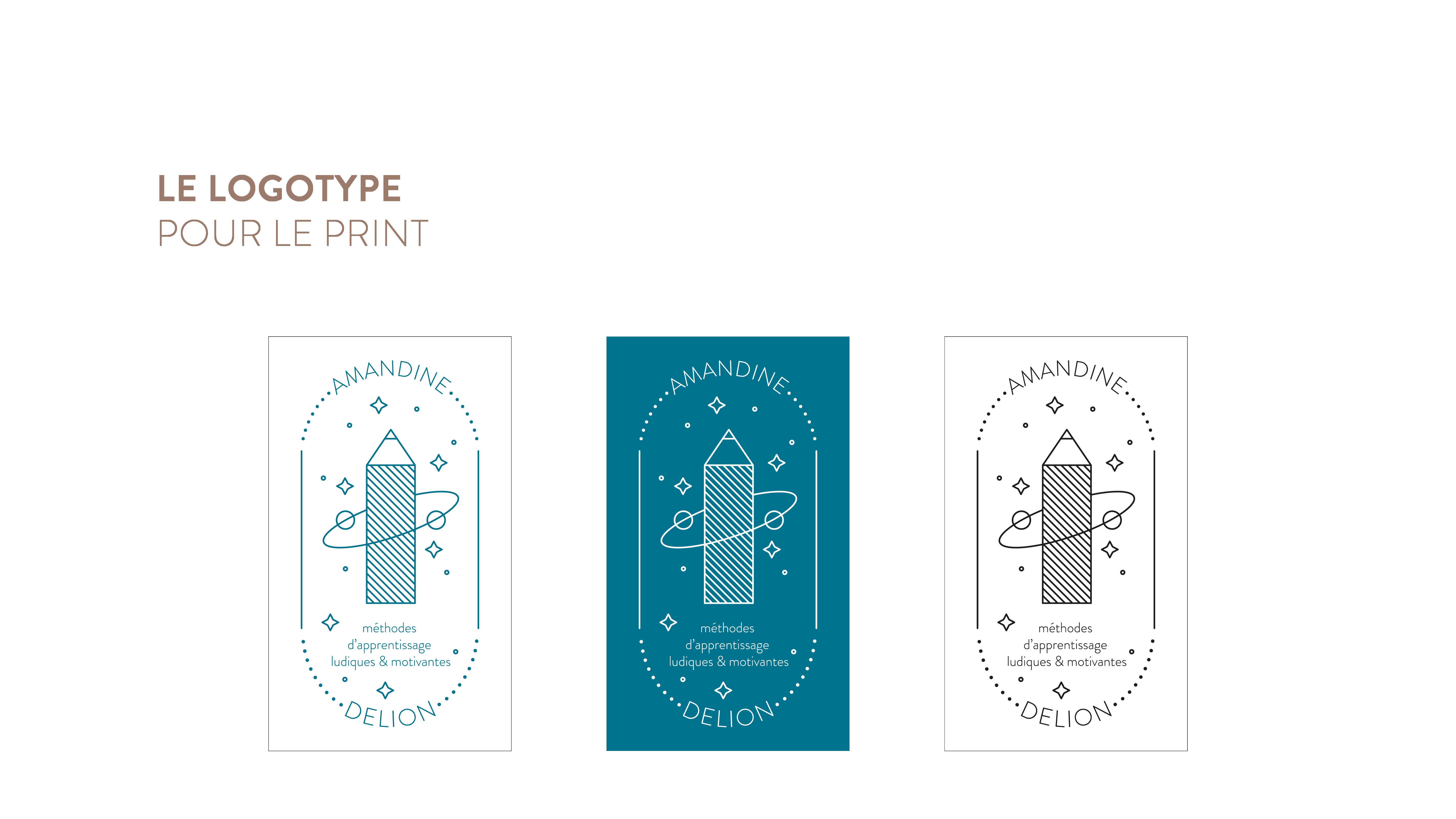 Amandine Delion - Création de logotype, charte graphique et cartes de visite