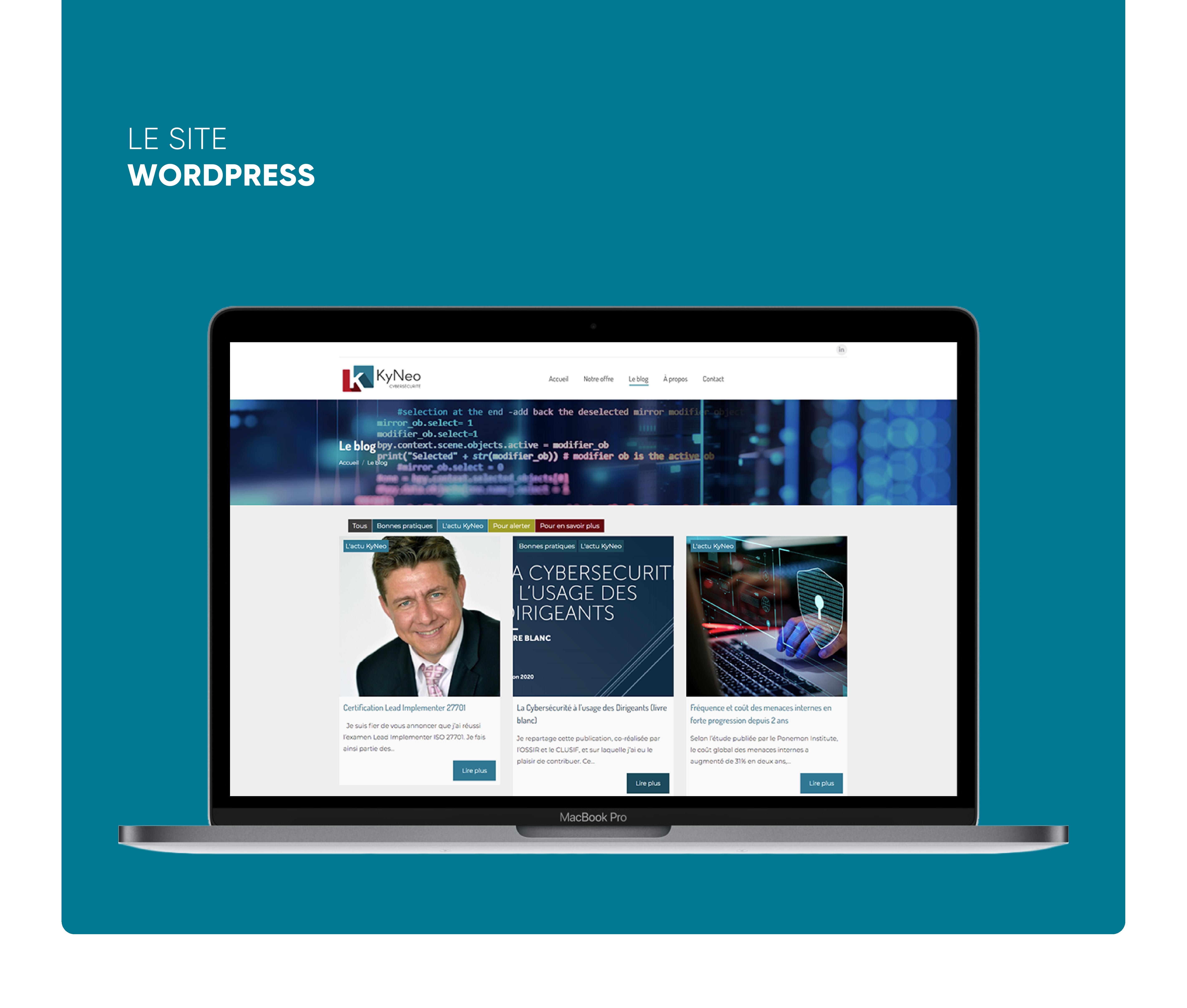 Kyneo cybersécurité - Création de charte graphique, logotype, supports imprimés et site Wordpress sur-mesure